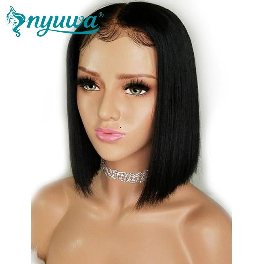 NYUWA Court 360 Dentelle Frontale Perruques Avec Bébé Cheveux Naturel Noir Pré Plumée Brésilien Remy Cheveux Humains Bob Perruques pour Les Femmes