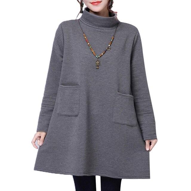 New Winter&Autumn Plus Size Women Clothes Loose Thick With Pockets Casual Turtleneck Pregnant Women Dress Vestidos De Festa XL69
