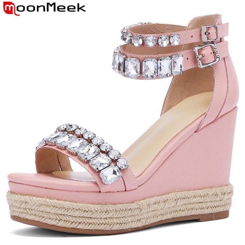 e30f3a95636 De Cuñas Mujer Verano Hebilla Tacones Plataforma negro Moonmeek Genuino  Nuevos Sandalias Pink Cuero Mujeres Altos ...