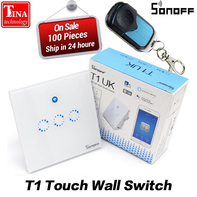 Sonoff T1 Smart WiFi RF/APP/ Touch Control Wall Light Switch 1/2/3 Gang 86 Type UK / EU Panel Wall Touch Light Switch Smart Home