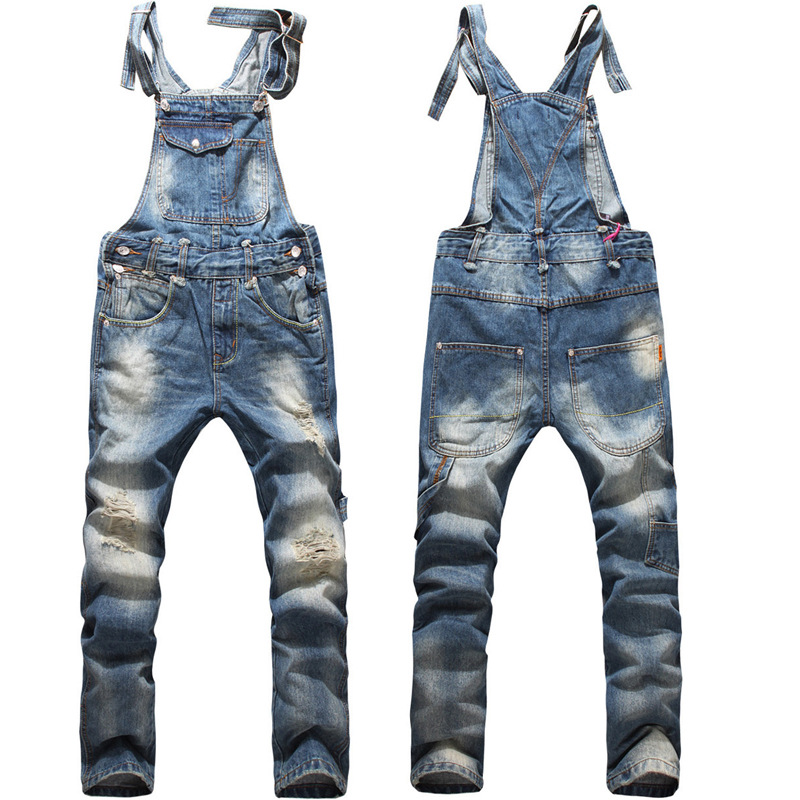 2017 European American Style Fashion Men Hip Hop Skinny Overalls Pants Skinny Ripped Jeans Plus Size 5XL Denim Jumpsuit 021408 2014 new fashion reminisced men vintage trousers casual jeans wash capris pants loose plus size overalls zipper denim jumpsuit