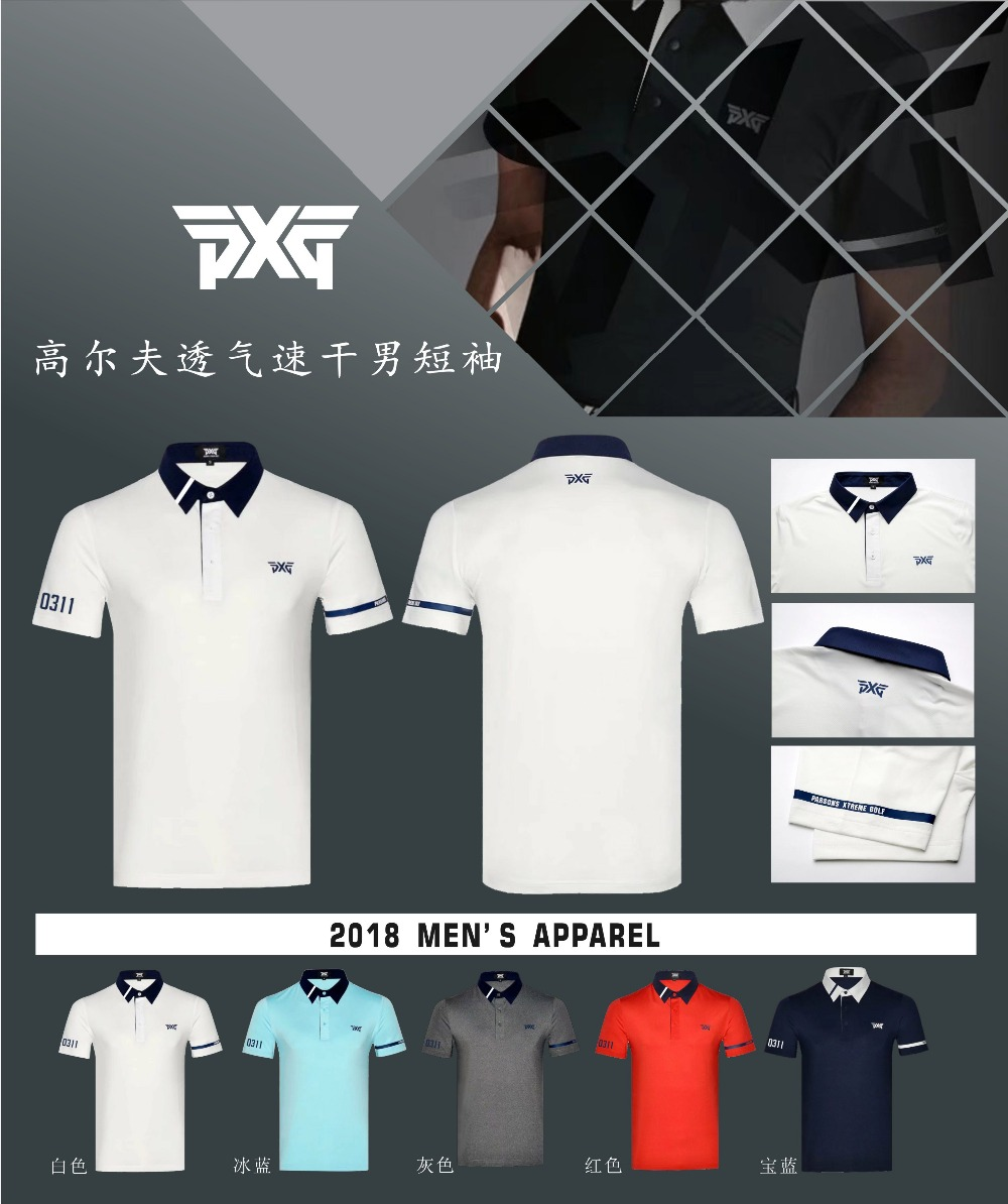 Golf T shirt clothes PXG mens Sportswear Short sleeve Golf T shirt 5colors S-XXXL in choice Leisure Golf shirt Freeshipping everio summer golf t shirt short sleeve polo shirt quick dry breathable golf wear 5colors