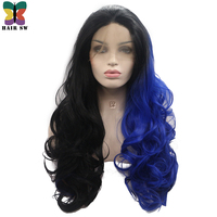 HAIR SW Long Wavy Synthetic Lace Front Wig Half Black Half Blue Two tone Ombre Cosplay Glueless Wig For Halloween or Darg Queen