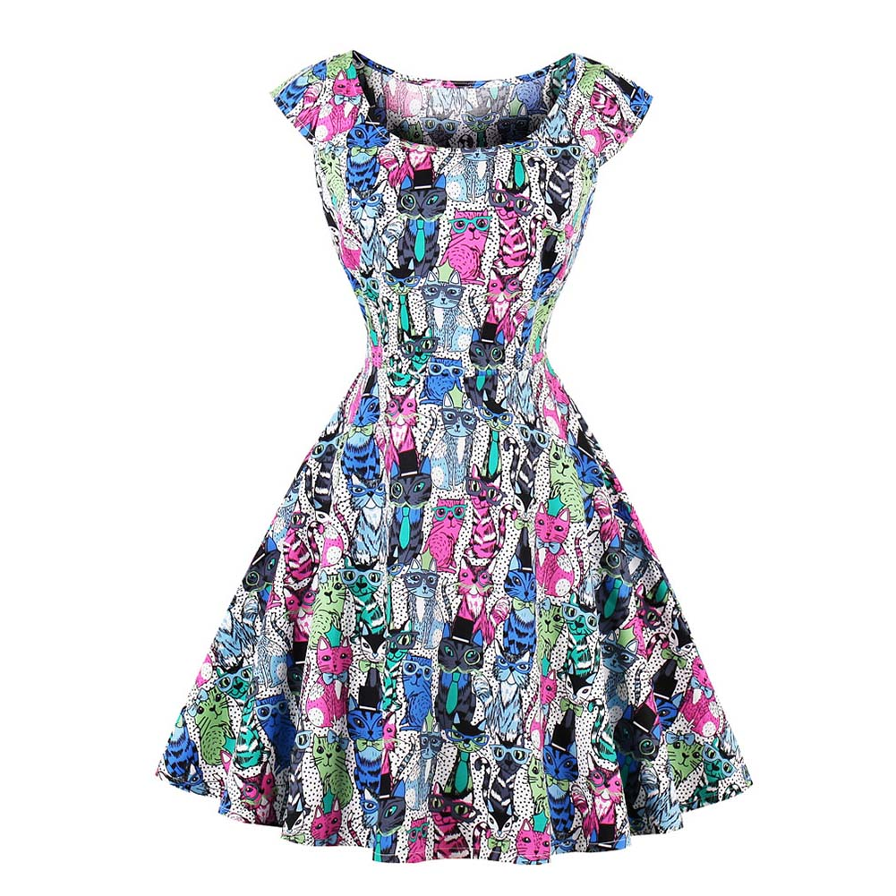 Casual Women's Dress Lady Sleeveless Printing Vintage Swing For Party Summer Dress FS99