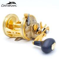 Camekoon estrela arrastar carretel de pesca de água salgada 5.: 1/4.: 1 relação de engrenagem 15 kg máximo arraste mão direita tambor barco carretel de pesca