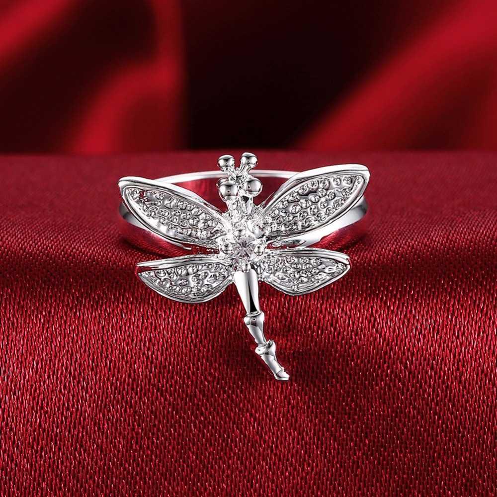 Большая Акция Оптовая Продажа 925 тисненый посеребренные ювелирные изделия мир/Стрекоза серебряное кольцо anillos de Prata Размер 6 7 8 9 женский подарок