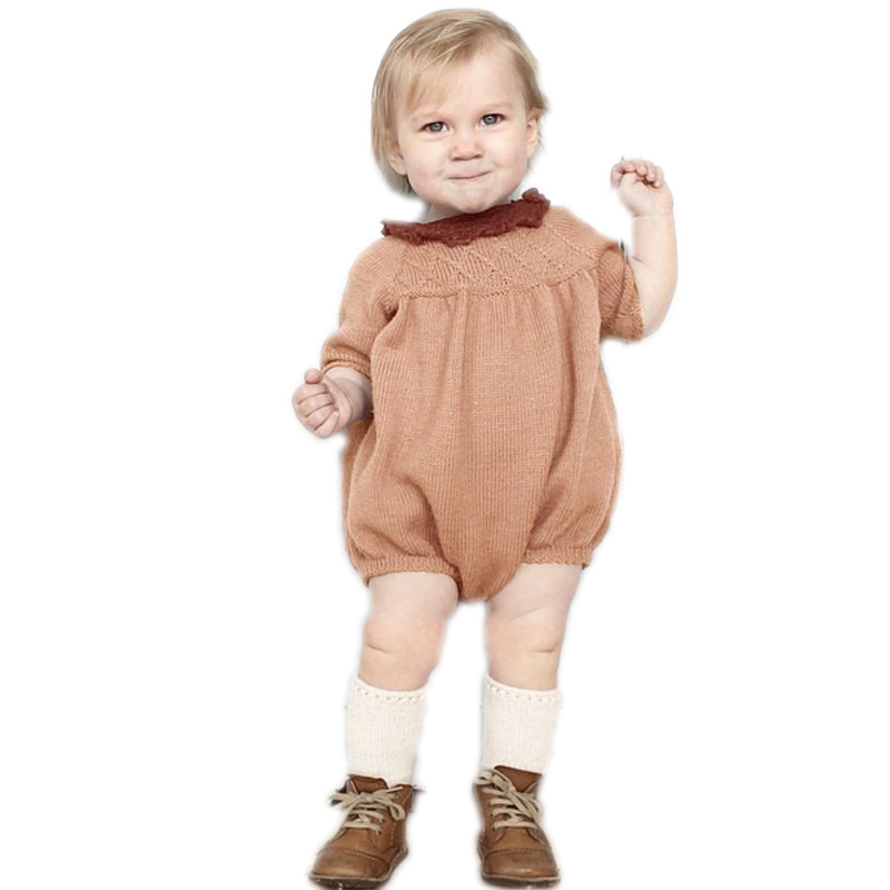 Baby Rompers 2017 New Infant Candy Color Knit Crochet Romper Kids Boy Girl Autumn Long Sleeve Jumpsuit Kawaii Clothes newborn baby rompers baby clothing 100% cotton infant jumpsuit ropa bebe long sleeve girl boys rompers costumes baby romper
