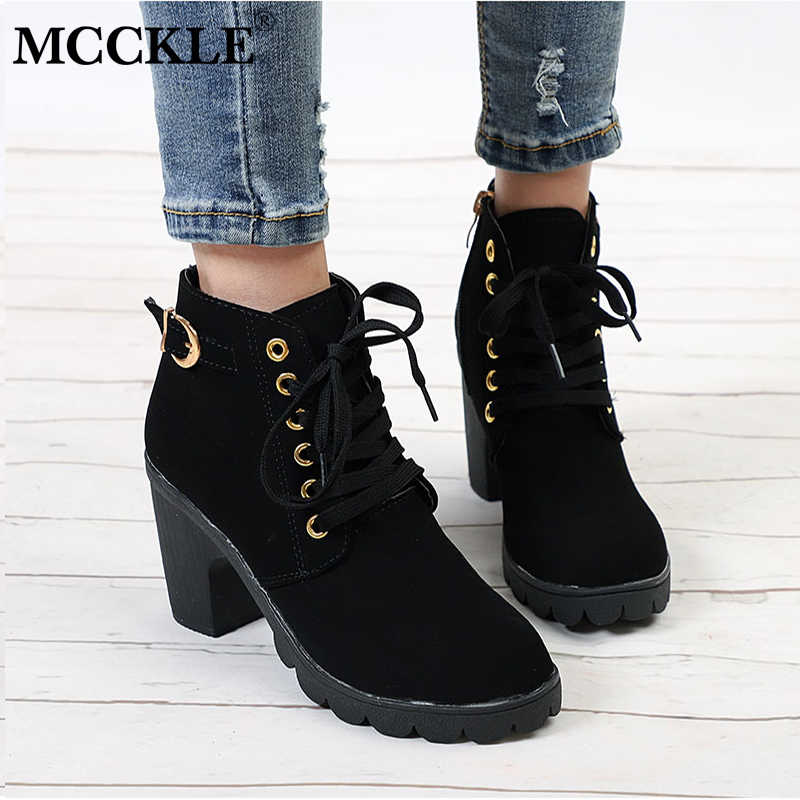 MCCKLE/Повседневные осенние женские ботильоны на платформе; женская обувь на высоком каблуке с перекрестной шнуровкой и пряжкой; обувь для отдыха; большие размеры