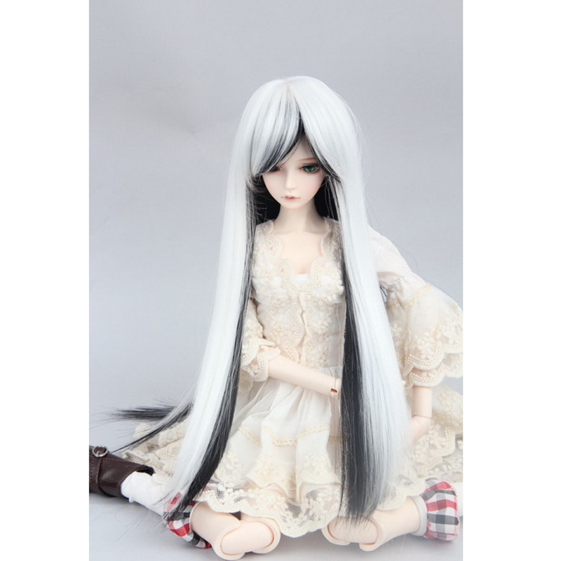 LIMPOPO BJD SD doll hair can DIY hair Long straight hair antique black and white mixed color doll accessories Wig free shipping