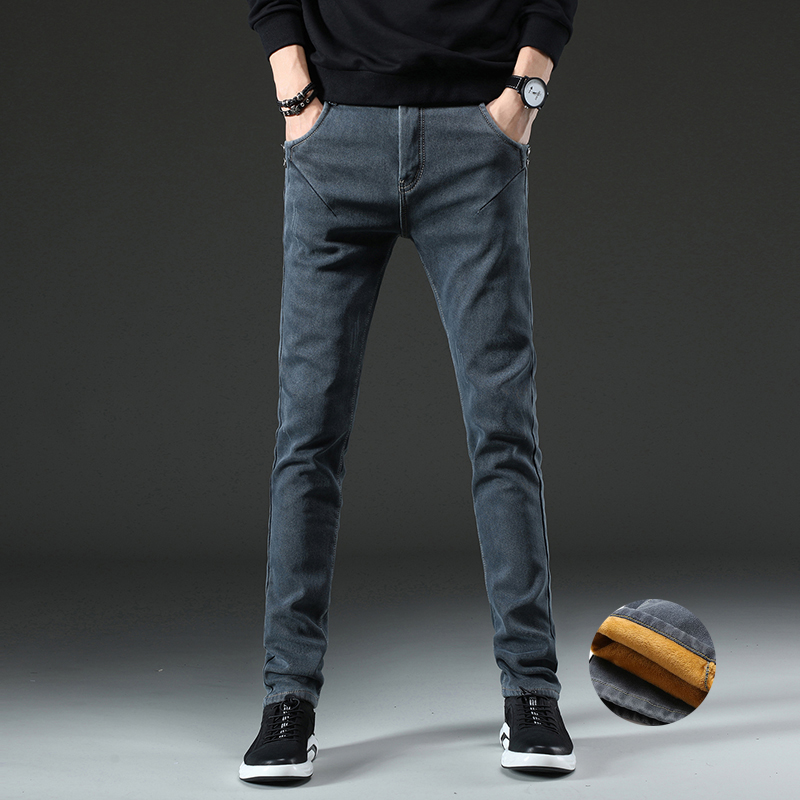 Winter New Men Warm Slim Fleece   Jeans   Elasticity Skinny   Jeans   Fashion Casual Thick Denim Pants Trousers Male Brand Clothing Grey
