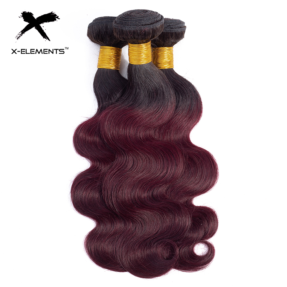 X-Elements Ombre Brazilian Body Wave Hair Bundles T1B Red T1B 30 T1B Burgundy Ombre Human Hair Extensions Two Tones Hair Weave Bundles (23)