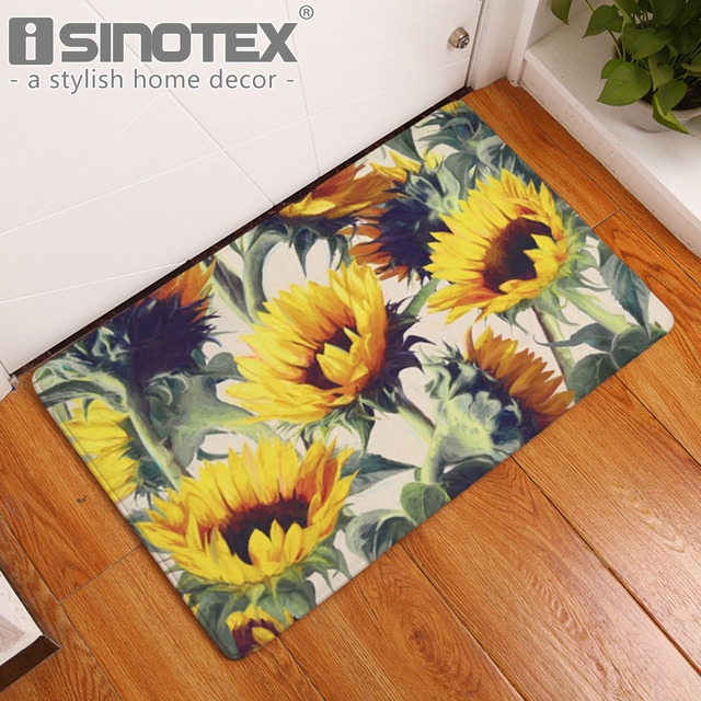 Sunflower Decorative Floor Mat Kitchen Rugs Hallway Home Entrance Door Mats  Carpets Anti Slip Floral