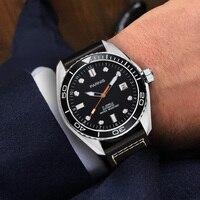 45mm Parnis su geçirmez dalgıç otomatik izle mekanik saatler seramik Rotatig çerçeve 5ATM safir kol saati erkekler hediye PA6032