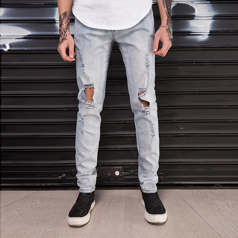 Jeans Top Quality 2019 Spring Autumn Men Pants Knee Hole Beggar Student Monkey Wash Vintage Teenagers Streetwear Jeans Mens Trousers Year-End Bargain Sale