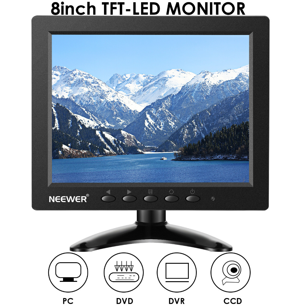 Neewer NW801H 8 inches Monitor with 4:3TFT-LCD Screen 1024x768 Resolution,500:1 Contrast,HDMI VGA BNC AV Input Audio