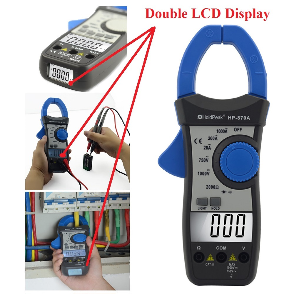 HoldPeak HP-870A DC AC Digital Clamp Meter Multimeter Pinza Amperimetrica Amperimetro Temperature / Diode Test Backlight mini multimeter holdpeak hp 36c ad dc manual range digital multimeter meter portable digital multimeter