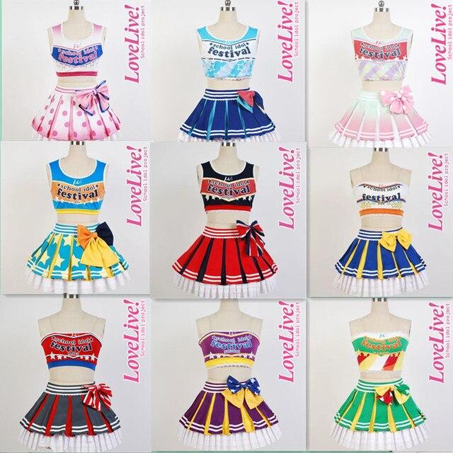 size 40 8c00c 1019a US $48.37 49% OFF|LoveLive! liebe Live 9 Menschen Kotori Minami  Cheerleaders Uniform Weste Rock Anime Halloween Cosplay Kostüme Für Frauen  ...