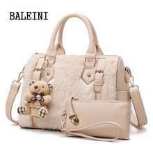 2018 2 Set Women Composite Bag High Quality Suede Leather Shoulder Bag Large Capacity Tote Bags For Women Shoulder Messenger Bag imported high quality calfskin women clutch bag convenient and compact soft and supple suede leather women shoulder bag