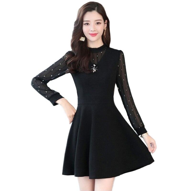 3143d2d458835 Yüksek kaliteli yay Sonbahar Uzun Kollu Dantel Elbise Kadınlar 2019 Yeni  Moda Zarif Şifon siyah Bir kelime elbise Kadın NW1633 - a.pranavajith.me