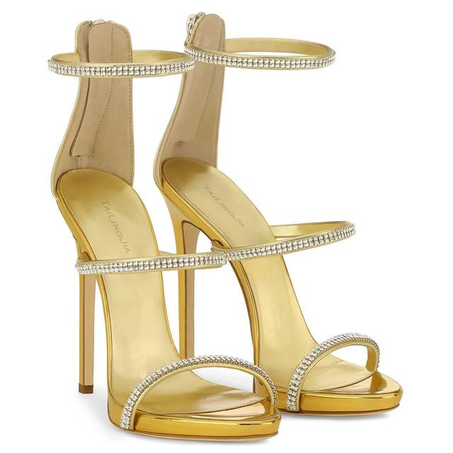 1a12c7b87f35 placeholder High Heel Sandals with Three Straps Crystal Stiletto Heel Dress  Shoes Rose Gold Slim Platform Heels