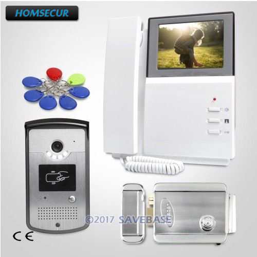 HOMSECUR 4.3inch Wired Video Door Entry Phone Call System With Keyfobs Unlocking Camera + Electric Lock