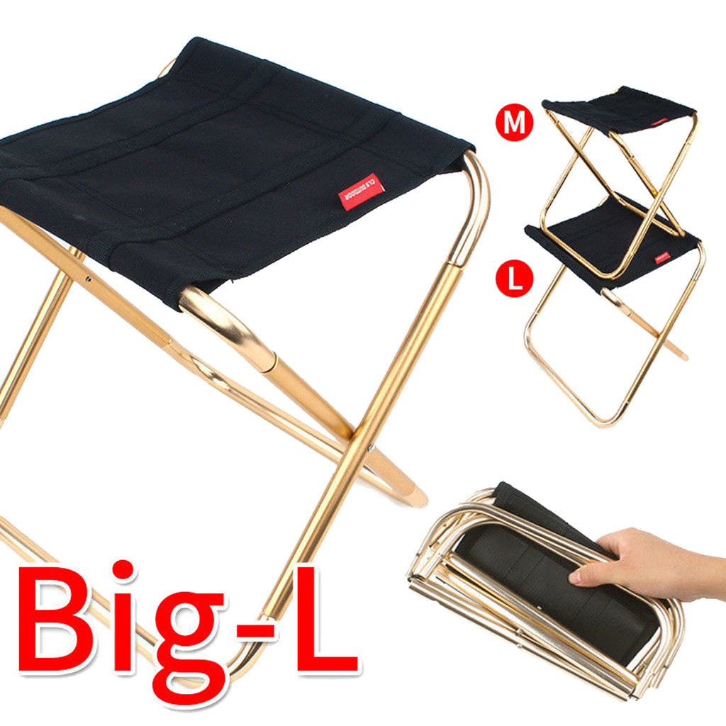 Mini Portable Iron Folding Chair Seat Stool For Fishing Camping Beach Picnic BBQ