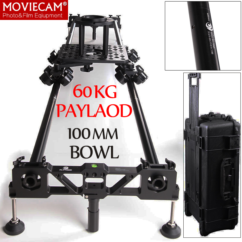 Flytiger 60kg Load Aluminum 240cm Professional Video Camera Slider Dolly Track 100mm Bowl Hollywood Film DSLR Camera Rig Slider