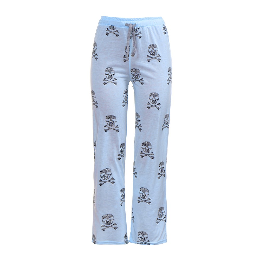 Women Lady Causal Daily High Waist  Skull Print Wide Calf Length Long Leg Pants