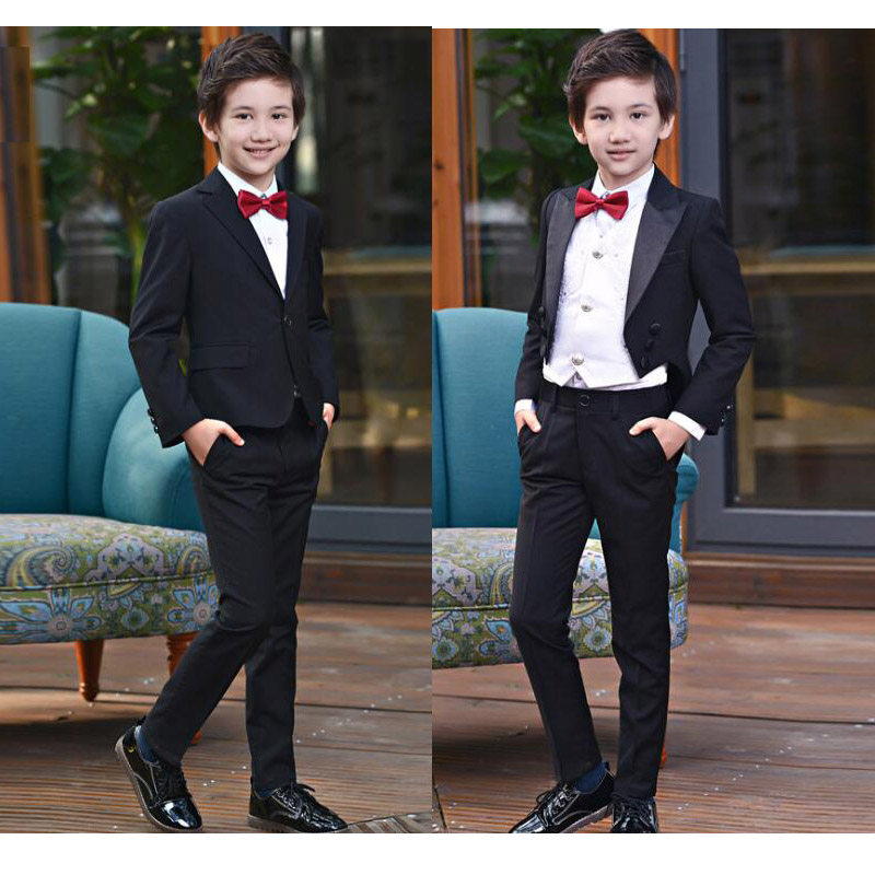 4 Pcs Formal Black gentleman suits for boys weddings costumes garcon boys Coat Shirts Trousers Tie tuxedo set 8 10 12 14 16 Y