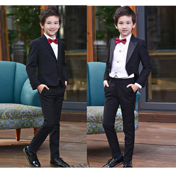 4 Pcs Formal Black gentleman suits for boys weddings costumes garcon boys Coat Shirts Trousers Tie tuxedo set 8 10 12 14 16 Y
