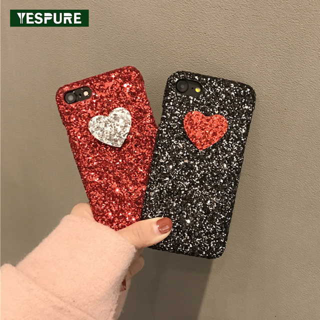 official photos c7ef0 c1dc6 US $7.78  YESPURE Black Bling Glitter Cell Phone Covers for Iphone 6 6s  Case Cute Phone Accessory Mobile Girl Red Heart Luxury Case Woman-in Fitted  ...