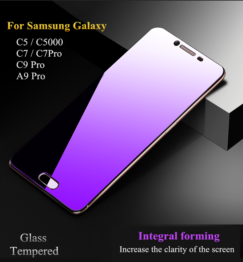 Full Cover Tempered Glass For Samsung Galaxy C5 C7 C7 Pro C9 Pro 9H Glass Anti <font><b>Blu-ray</b></font> Screen Protector for Galaxy A8 A9 Pro