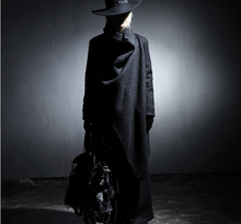 Scuro degli uomini Giacca A Vento Grande Risvolto di Lana Cappotto Lungo Cappotto di Lana Mens Trench e Impermeabili Cappotto Giacca Rompeviento Larga Hombre Steampunk Mens Costume(China)