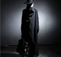 Men's Dark Windbreaker Large Lapel Woolen Coat Long Wool Mens Trench Coat Jacket Rompeviento Larga Hombre Steampunk Mens Costume