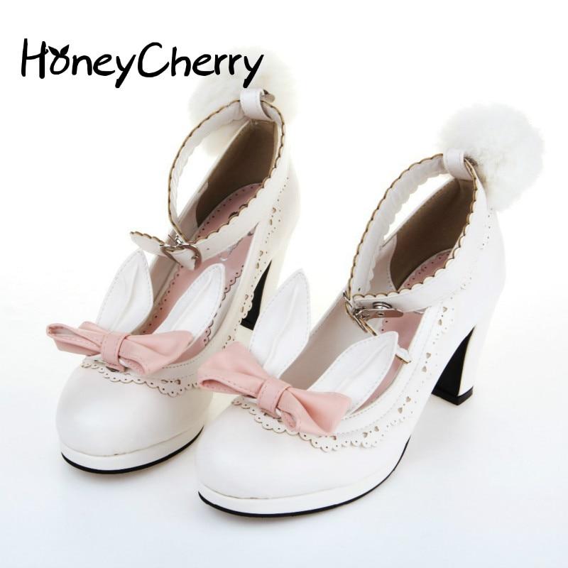 2019 Rabbit Ears Shoes Ribbon Fluffy Pumps Single High Heel Shoes Student Lolita Shoes