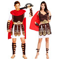Antiguo guerrero romano gladiador trajes partido de la mascarada mujeres hombres caballero julio césar de Halloween para adultos pareja Cosplay Cotume