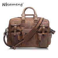 NBSAMENG Vintage Brown 100% Crazy Horse Leather Men Messenger Bags Laptop Cowhide Leather Men's Briefcase Portfolio Travel Bags