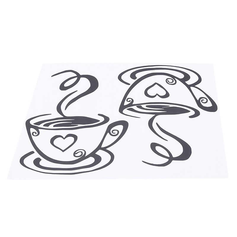Double Cangkir Kopi Stiker Dinding Rumah Dapur Restoran Cafe Tea Dinding Dekorasi Kamar Dekorasi Vinyl Seni Stiker Dinding