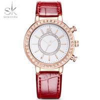 SK Women's Watch Elegant Golden Jewelry Wrist Watches Red Leather Watchband Ladies Geneva Quartz Clock Female Wristwatch 2018