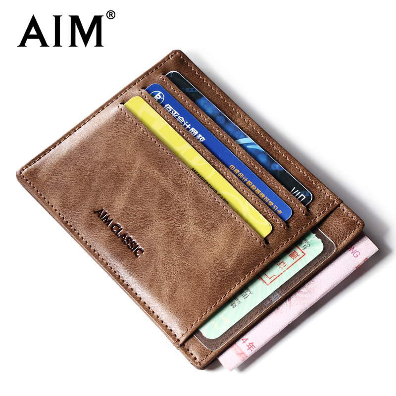 AIM Men's Genuine Leather Slim Card Holder Brand Designer Vintage Credit Cards Organizer Small Thin Purse Men Mini Wallet A295 men plaid pu leather wallet light bifold fashion designer credit cards holder clutch id card organizer brand purse for men phd08