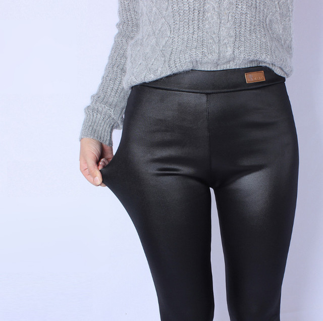 Women PU Leather Thick High Waist Elastic Fleece Leggings Warm Pants Winter Trousers Female puls size big size 4xl 5xl ouc1243A