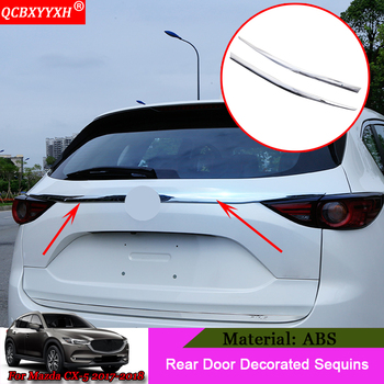 QCBXYYXH سيارة التصميم لمازدا CX-5 2017 2018 ABS المصد الخلفي حماية الذيل الباب الخلفي جذع الحرس عتبة أبلى لوحة تقليم غطاء