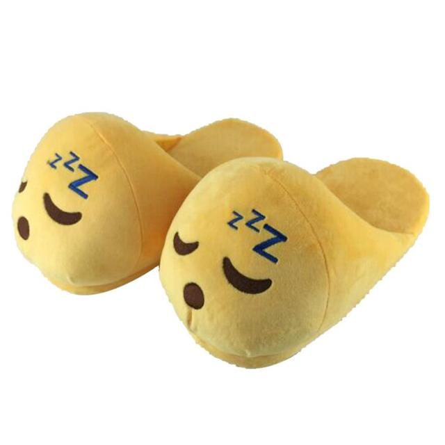 Funny Mens Plush Slippers 2015 Indoor Shoes House Cute Women Slippers Emoji Shoes Warm House Slipper