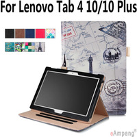 100 High Quality Leather Case For Lenovo Tab 4 10 Plus Hand Hold Smart Sleep Awake