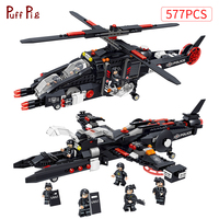 577pcs Helicopter Warship SWAT Military City Police Figures Building Blocks Compatible Legoing DIY Army Bricks Kid Gift Toys