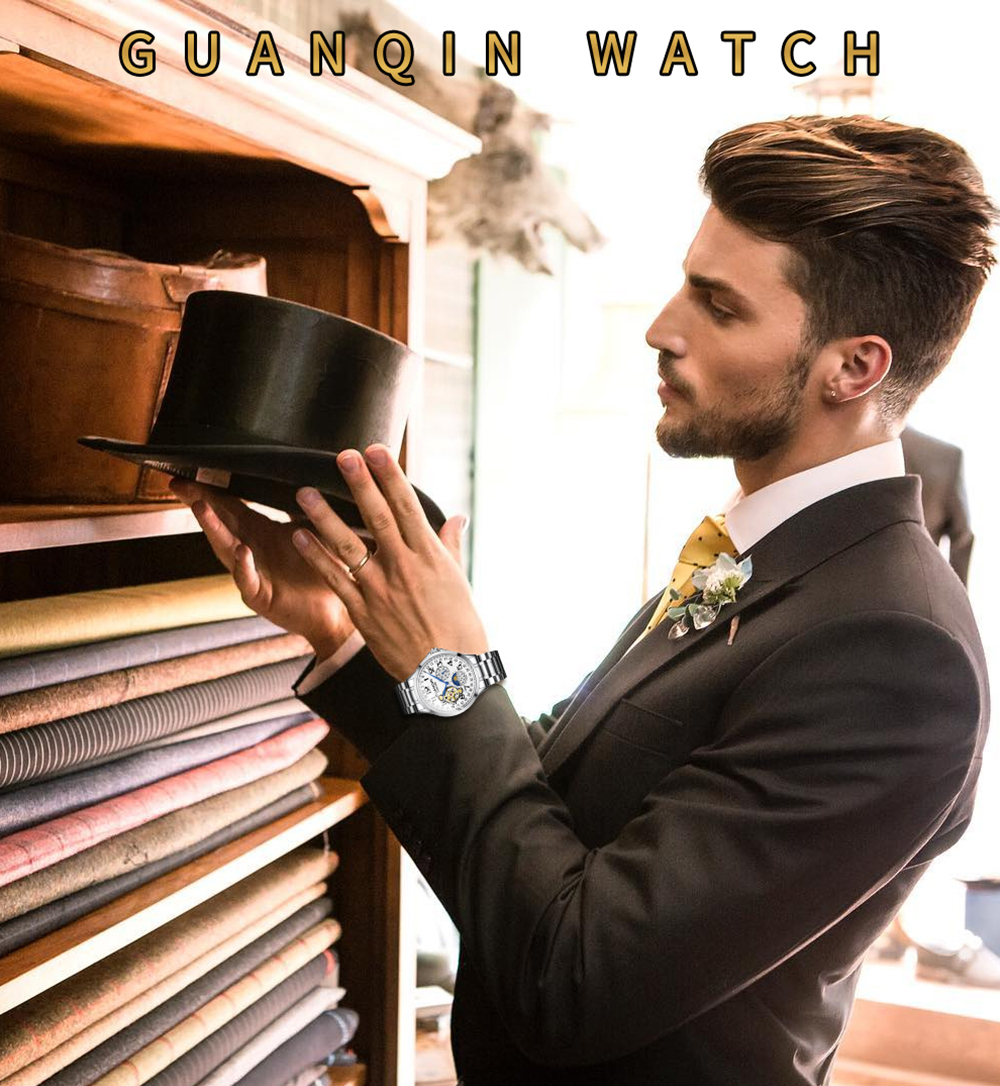 HTB1RPStalWD3KVjSZKPq6yp7FXaK 2019 Fashion GUANQIN Mens Watches Top Brand Luxury Skeleton Watch Men Sport Leather Tourbillon Automatic Mechanical Wristwatch