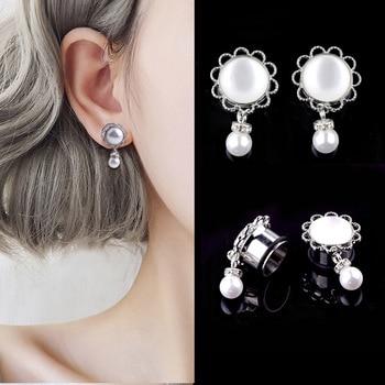 1 Pair Women Ear Piercing Plugs Tunnel Stainless Steel Imitation Pearl Crystal Stud Earrings KQS8 Маникюр