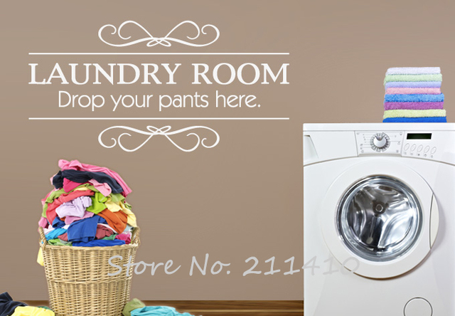 Custom made Wall stickers home decor Laundry Room Nice clothesline ...