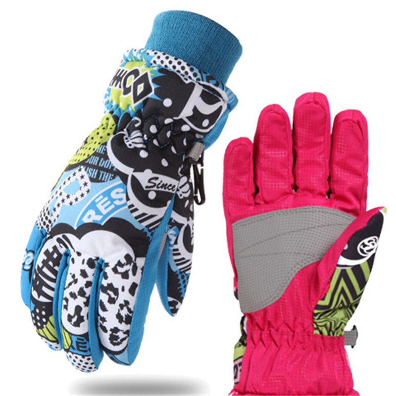 ФОТО 2 colors 3 sizes Winter Children Waterproof Skiing Gloves Boy Girl Snowboard Gloves Breathable windproof Thermal snow gloves