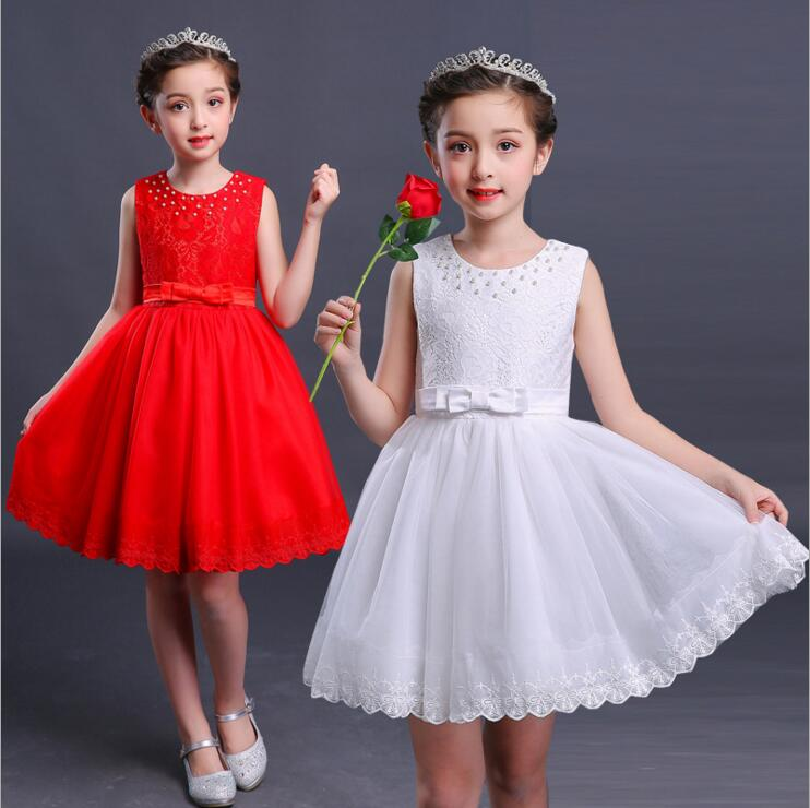 New Girls summer dress Children's Day prom Solid Color princess dresses Lace Wavy edge costume for party and wedding new high quality fashion excellent girl party dress with big lace bow color purple princess dresses for wedding and birthday